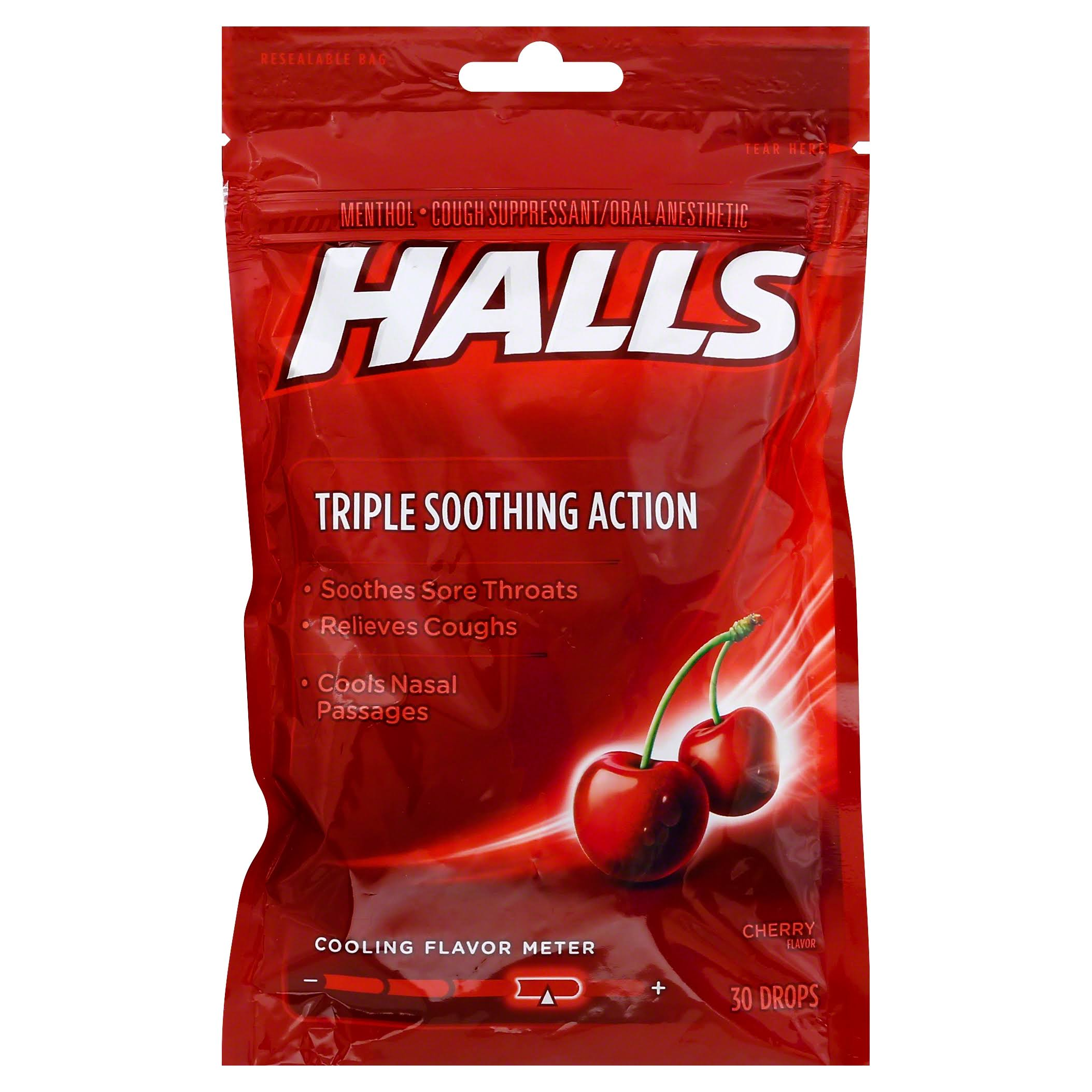 Halls Cough Suppressant Oral Anesthetic Menthol Drops - Cherry, 30ct