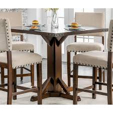 Furniture Of America Banea Rustic Nailhead Brown Cherry Counter Height Table