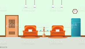 zwei sofa orange im wohnzimmer interieur mit kaffeetasse auf tisch und schrank blau kühlschrank uhr im wandhintergrundflaches designvektorillustration