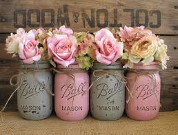 Pint Mason Jars Ball Painted Flower Vases Rustic Wedding
