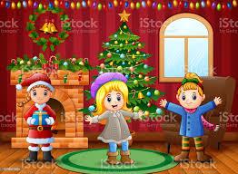 karikatur happy im wohnzimmer mit weihnachten und neujahr dekoration stock vektor und mehr bilder baum