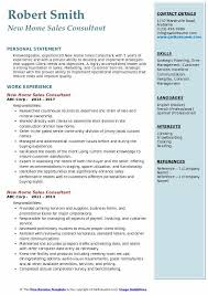 New Home Sales Consultant Resume Example