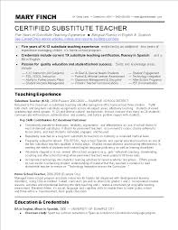 Substitute Teacher Resume Skills Main Image