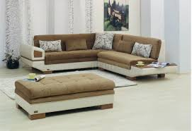Best Fabric For Sofa by Two Tone Fabric U0026 Vinyl Modern Sectional Sofa W Optional Ottoman