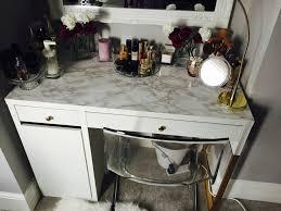 Micke Desk With Integrated Storage Hack by Micke Desk Vanity Marble Gold Hack Ikea Diy Hacks Pinterest