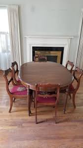 Perfect Size Antique Oval Walnut Table With 6 Matching Rose Needlepoint  Chairs