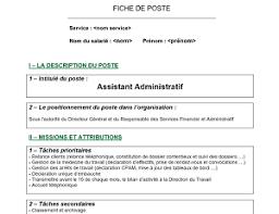 fiche metier secretaire medicale modèle de fiche de poste pour assistant administratif