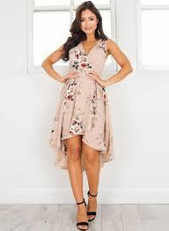 v neck sleeveless floral printed high low dress azbro com