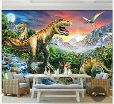 Custom 3d Photo Wallpaper Wall Murals River Stone Forest World Dinosaur Animal Oil Painting