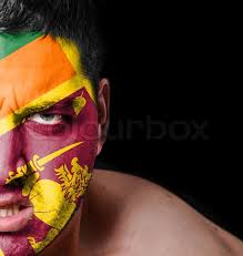 Portrait Of Angry Man With Painted Flag Sri Lanka