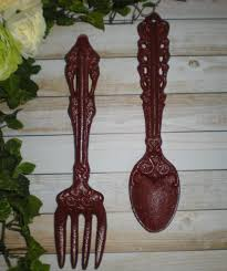 Wooden Fork And Spoon Wall Decor by 2014 Wall Decor Ideas Tuscan Red Large Fork And Spoon Home