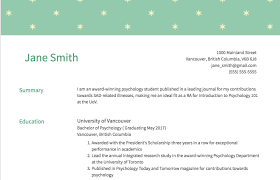 Non Traditional Resume Sample With Education And Academic Achievements