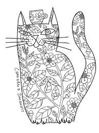 Kittys Cat Colouring Book For Adults Free Page Tea Cup
