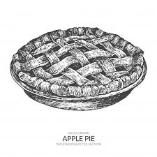 Hand drawn apple pie Vintage black and white illustration Premium Vector