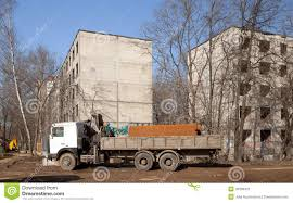 The Truck With Big Tube On Demolition Stock Image - Image Of ...