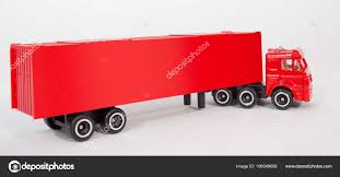 100 Semi Truck Toy Red Plastic Cab Trailer Container Isolated