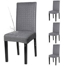 YISUN Dining Chair Covers, Solid Pu Leather Waterproof And Oilproof Stretch  Dining Chair Protector Cover Slipcover (Lace Grey, 4 Pack) Decorative Chair Coversbuy 6 Free Shipping Alltimegood Ding Room Covers Short Super Fit Stretch Removable Washable Cover Protector Print Office Cube Decor Zone Desk Southwest Wedding Stylists And Faux Linen Sand Summer Promoondecorative 60 Off Today Coversbuy Free Shipping 49 Patio Amazoncom Duck