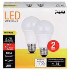 feit a19 75 watt led light bulb 2 pack 2700k soft white