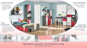 jugendzimmer komplett set g klemens 9 teilig farbe rosa weiß grau