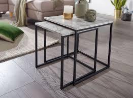 design beistelltisch 2er set marmor optik weiß couchtisch 2 teilig tischgestell schwarz kleine wohnzimmertische moderne satztische