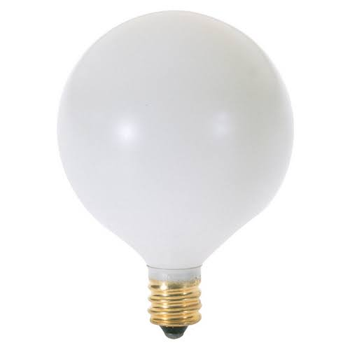 Satco Globe Light Bulb - 60W, Satin White, Candelabra Base