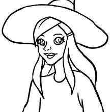 Brewing Potions Young Witch Face Coloring Page