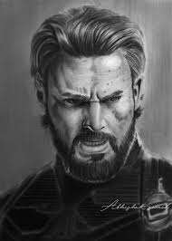 Charcoal Portrait Of Chris Evans Captain American From The Movie Avengers Infinity War