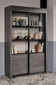 vitrine maxim 9 eiche grau 128x203x45 cm schrank esszimmerschrank expendio