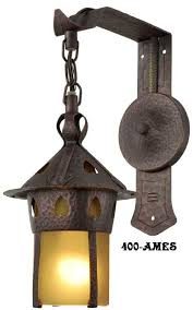 arts and crafts stickley copper sconce with shade 400