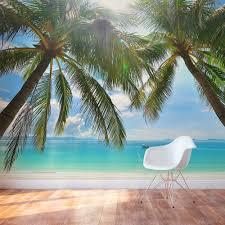 tropical beach paradise wall mural