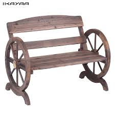 IKayaa 2 Seater Outdoor Wood Bench With Backrest Rustic Wagon Wheel Style Patio Garden Furniture