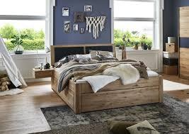 massivholzbett mit 6 schubladen 180x200 54 cm eiche bianco geölt kopfteil mit polster anthrazit casade mobila