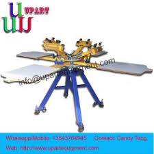 Hand 4 Color Station Carousel Screen Printing Machine For Clothesmanual Clothes