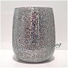 Crackle Glass Bathroom Set by Silver Crackle Mirror Glass Bathroom Sparkle Glitter Bin New