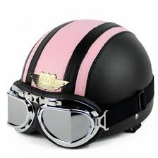 DO NOT Miss TOP Quality Black Pink Leather Half Face Motorcycle Scooter Vespa Biker Helmet With Goggles Visor S M L XL In Helmets From Automobiles