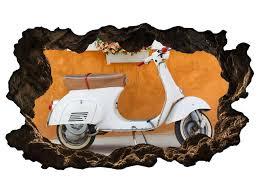 3d wandtattoo retro mofa bike auto blumen vintage selbstklebend wandbild wohnzimmer wand aufkleber 11m545