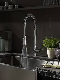 satin nickel commercial kitchen faucets with sprayer wall mount