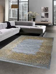 teppich modern wohnzimmer teppich ornamente grau senfgelb