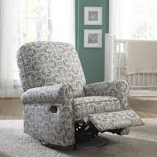 100 Reclining Rocking Chair Nursery Jackson Grey And Cream Fabric Swivel Glider Recliner