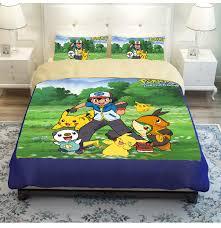 Kids 3 4pcs pokemon Bedding Set twin full queen size