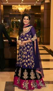 purple black embroidered wedding dress for special functions