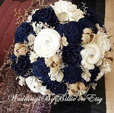 Navy Blue Sola Bouquet Champagne Ivory Wedding Flowers Rustic Shabby ChicBridal Accessories Keepsake
