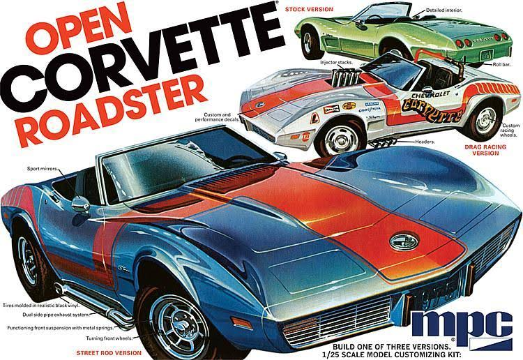 MPC 1975 Chevrolet Corvette Roadster 3 in 1 Model Kit - 1/25 Scale