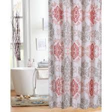 Teal Chevron Curtains Walmart by Mainstays Coral Damask Shower Curtain Walmart Com