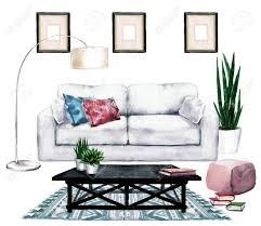 wohnzimmer design mit natürlichem neutral interior aquarell illustration