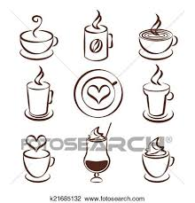 Set Of Brown And White Doodle Sketch Coffee Cup Vector Symbols With Steaming Cups In Different Shapes Glasses A Mug Cappuccino Iced Or Milkshake