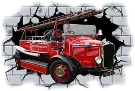 100 Fire Truck Wall Decals Old Engine Crashing Through View Sticker Mural Decal