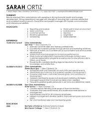 Clinic Administrator Salon Spa Fitness Sample Administrative Resume