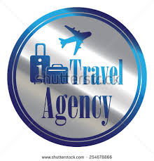 Blue And Silver Circle Metallic Travel Agency Icon Label Button Or Sticker Isolated On