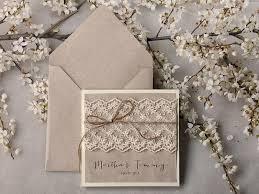 Rustic Wedding Invitations 20 Invitation Suite Lace Pocket Fold Invites Shabby Chic